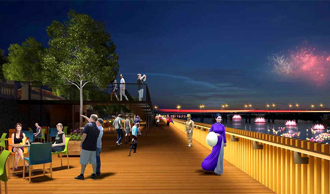 Hue builds ironwood-floored road along Huong riverbank